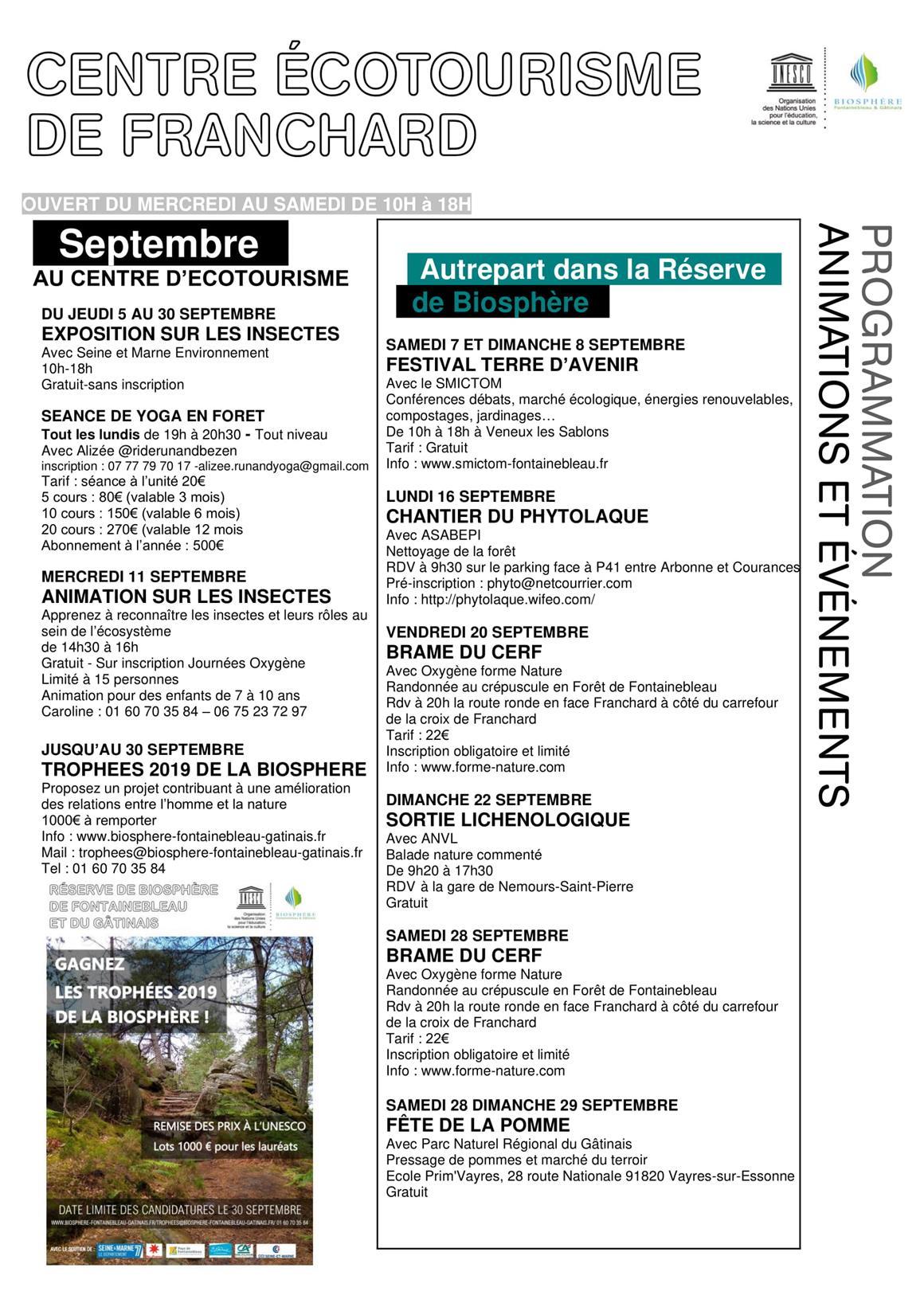 Programme Centre d'Ecotourisme Septembre 2019