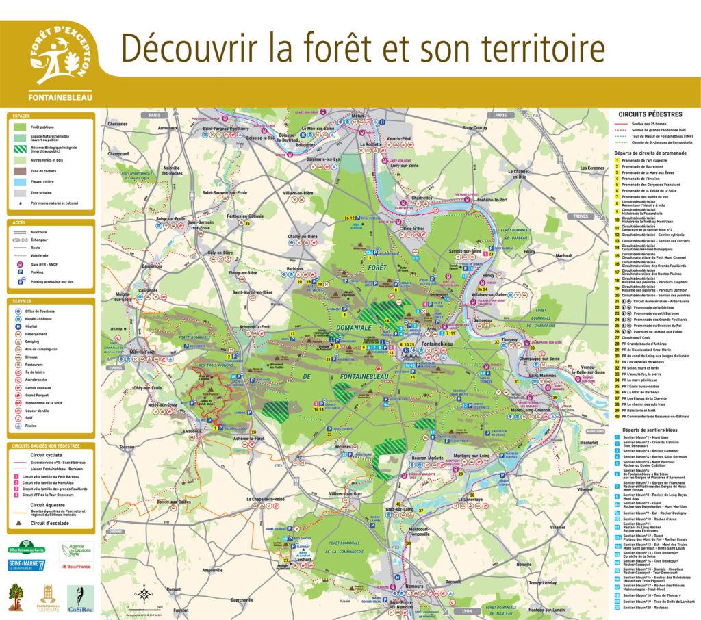 Carte de la Forêt de Fontainebleau et son territoire