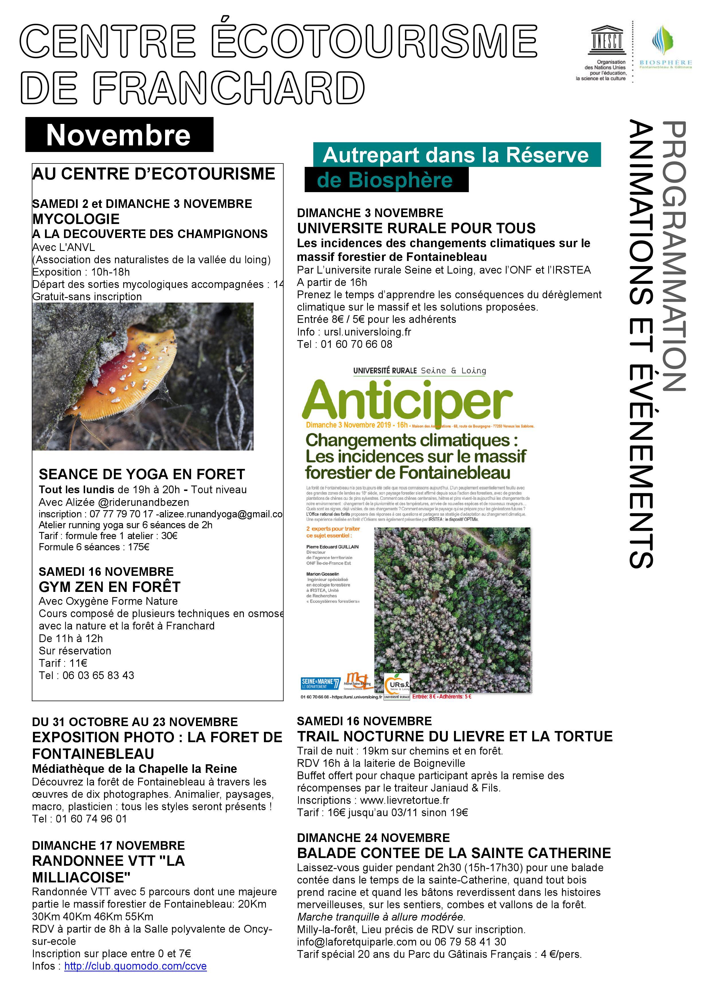 Programmation Biosphère Novembre 2019