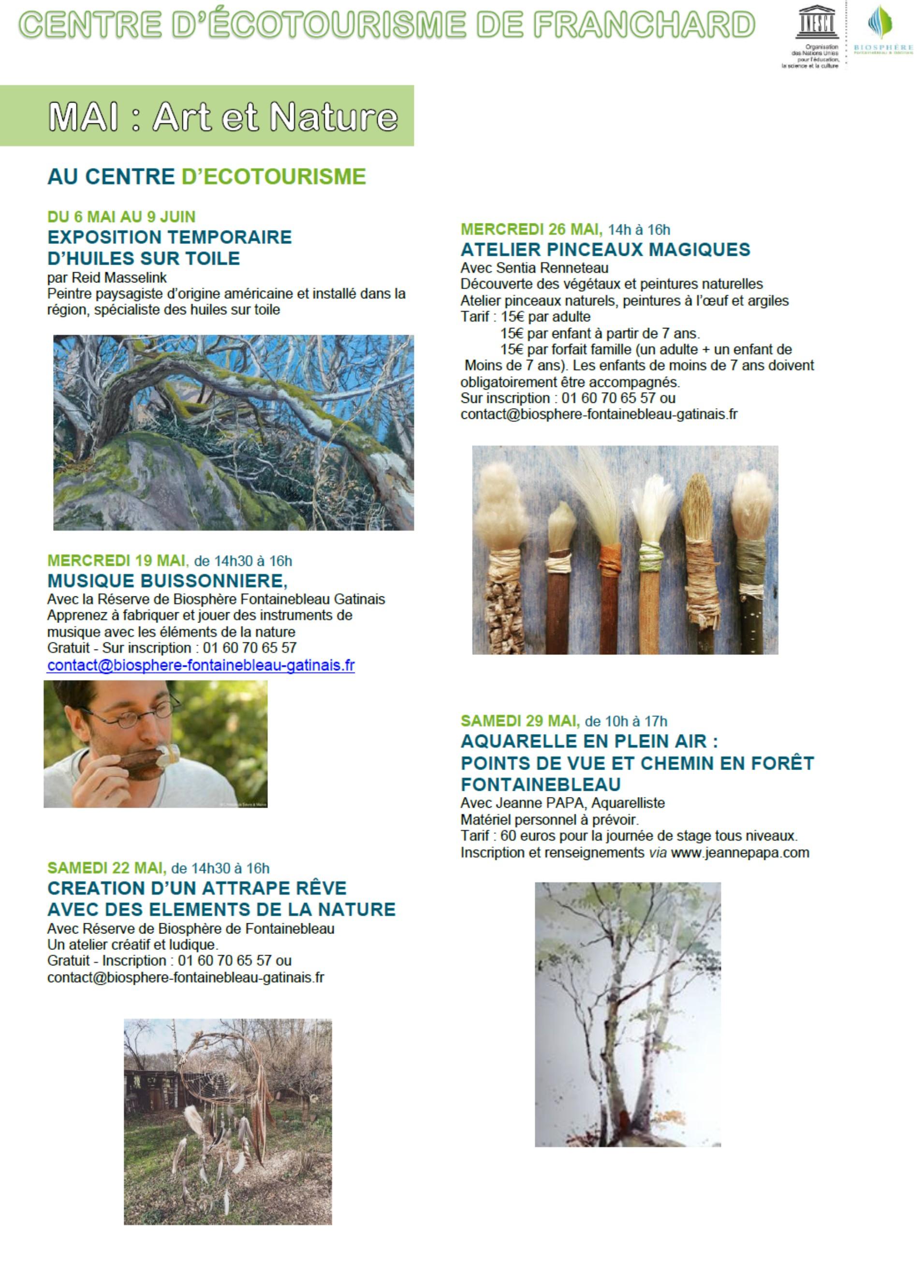 Programme MAI 2021 des activités et animations au centre d'écotourisme de Franchard